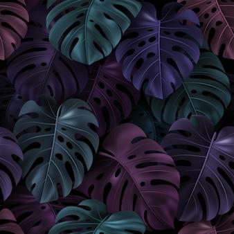Hojas de colores tropicales monstera sobre fondo oscuro. patrón sin costuras.