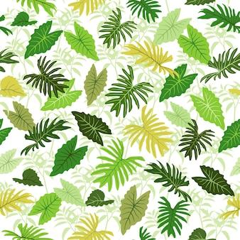 Hojas de colores tropicales de patrones sin fisuras para prendas textiles de tela o todas las impresiones