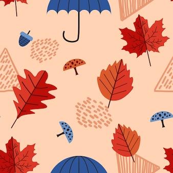 Hojas de otoño y follaje de patrones sin fisuras