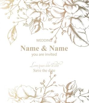 Hojas decoración tarjeta línea arte. invitación de boda de estilo retro vintage o saludos