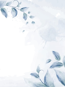 Hojas de diseño acuarela con ramas azules