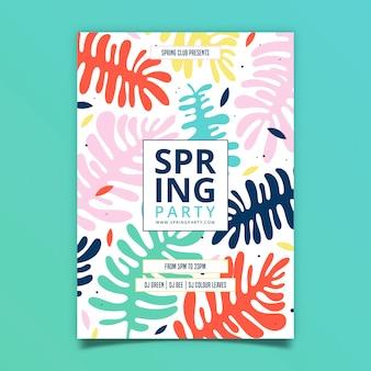 Hojas de diseño de flyer de fiesta de primavera de color