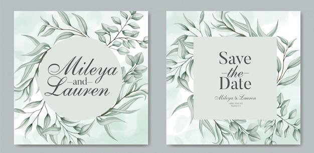 Hojas elegantes para plantilla de tarjeta de invitación de boda