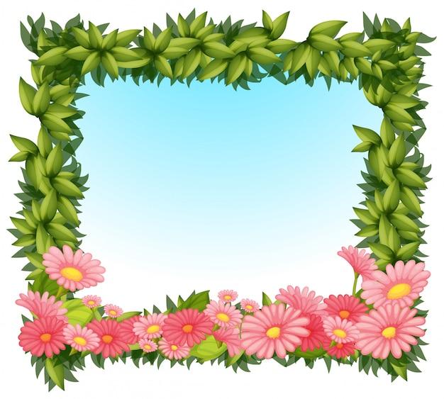 Hojas enmarcadas con flores rosas