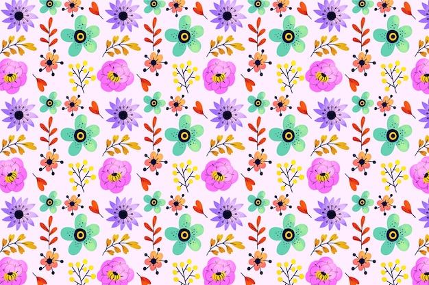 Hojas exóticas y flores ditsy sin fisuras de fondo