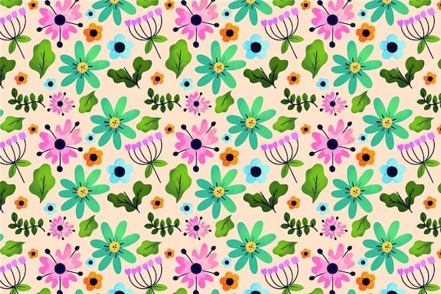 Hojas exóticas y flores ditsy print