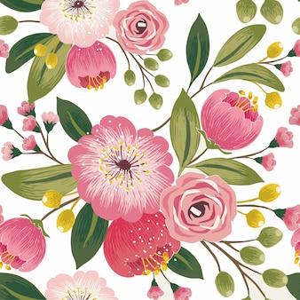 Hojas florales de fondo sin fisuras patrón