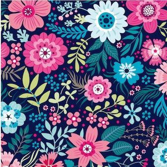 Hojas florales de patrones sin fisuras fondo vector plantilla