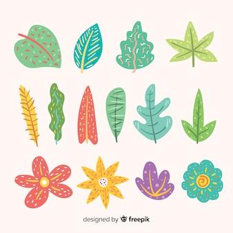 Hojas y flores abstractas dibujadas a mano