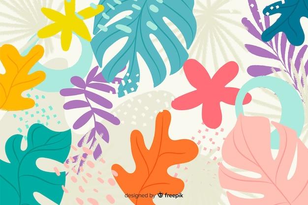 Hojas y flores abstractas dibujadas