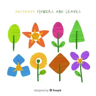 Hojas y flores dibujadas a mano
