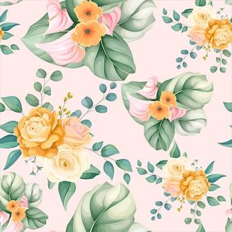 Hojas y flores hermosas de patrones sin fisuras