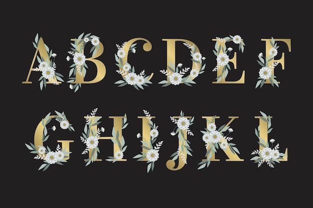 Hojas y flores en letras del alfabeto