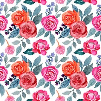 Hojas y flores de patrones sin fisuras acuarela