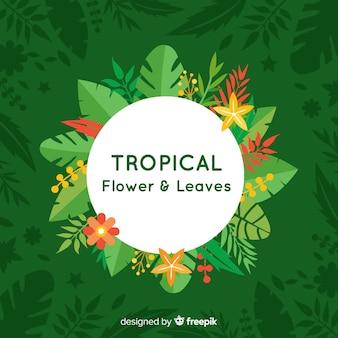 Hojas y flores tropicales en diseño plano