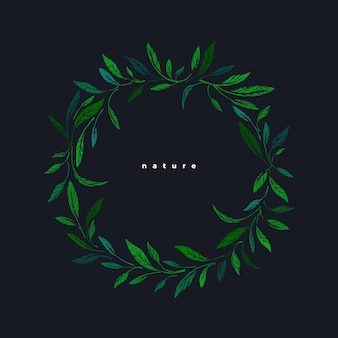 Hojas de grabado verde. marco de círculo. boceto botánico de té buch, follaje de olivo