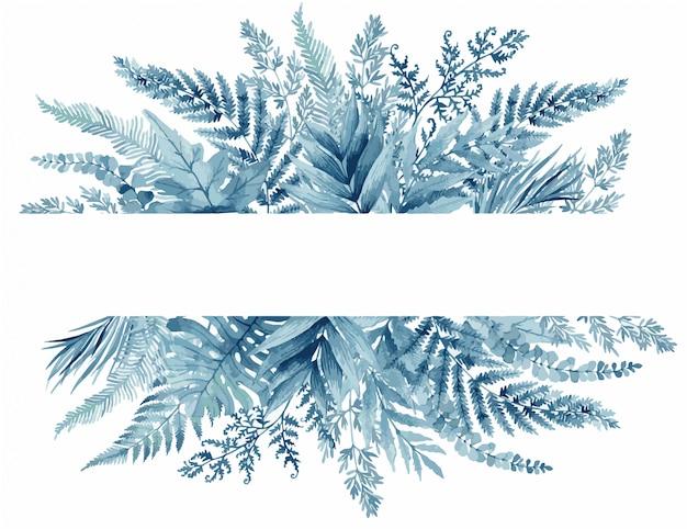 Hojas de helecho azul, marco tropical