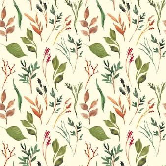 Hojas hermosas florales verdes acuarela de patrones sin fisuras