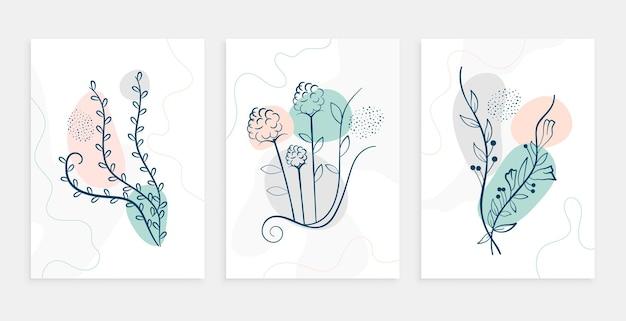 Hojas de línea mínima y conjunto de diseño de carteles de flores.