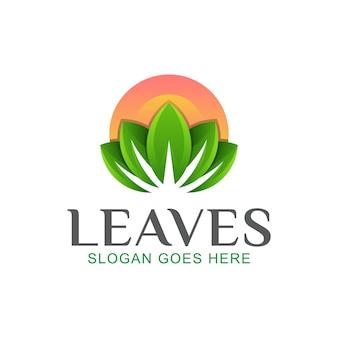 Hojas con logotipo de sol, belleza de la naturaleza, spa y diseño de loto.