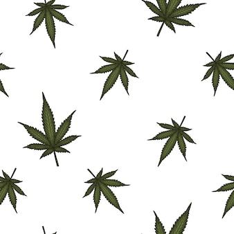 Hojas de marihuana de patrones sin fisuras.