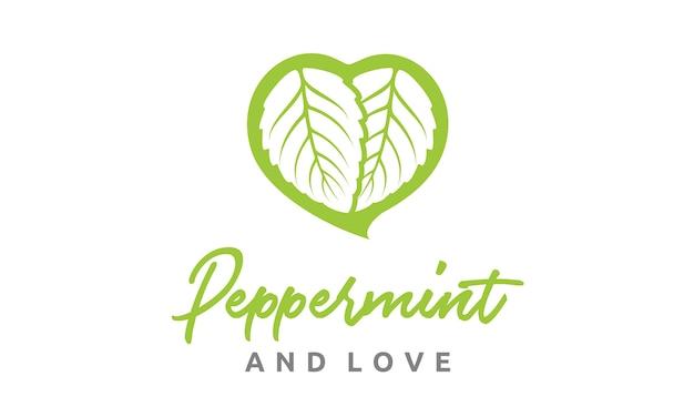 Hojas de menta y diseño de logotipo de corazón