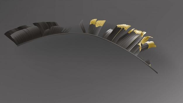 Hojas negras tropicales del oro en vector oscuro del fondo.