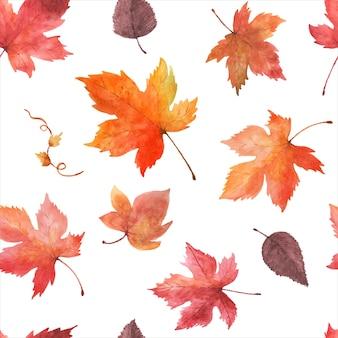 Hojas de otoño acuarela de patrones sin fisuras sobre un fondo blanco. acuarela pintada a mano con diseño de arte de hojas de arce para decoración en el festival de otoño, invitaciones, tarjetas, papel tapiz; embalaje.