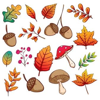 Hojas de otoño, bellotas y setas con colores dibujados a mano.