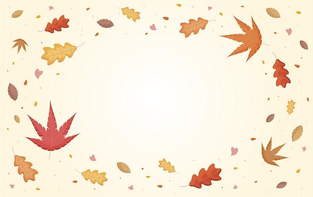 Hojas de otoño cayendo con copyspace
