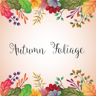 Hojas de otoño color ilustración fondo frontera