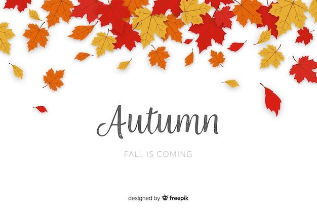 Hojas de otoño diseño plano de fondo