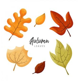 Hojas de otoño con efecto de textura punteada