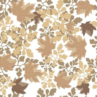 Hojas de otoño sin fisuras patrón de fondo