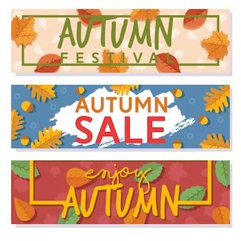 Hojas de otoño para flyer. festival de otoño, folleto de venta.