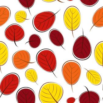 Hojas de otoño ilustración de vector de fondo de patrones sin fisuras
