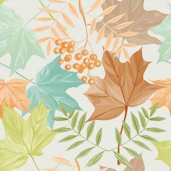 Hojas de otoño y patrón de serbal
