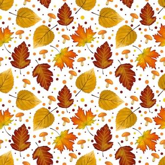 Hojas de otoño de patrones sin fisuras