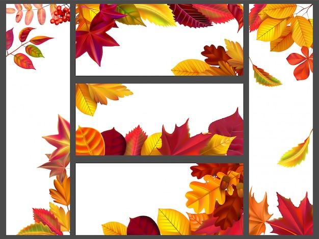 Hojas de otoño realistas pancartas. conjunto de ilustración de paquete de banner de follaje de jardín amarillo, hoja voladora y temporada de otoño