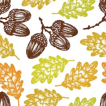 Hojas de otoño roble y patrón de bellotas