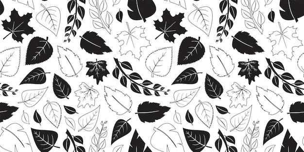 Hojas de otoño vector de patrones sin fisuras caen negro plano y diseño de contorno