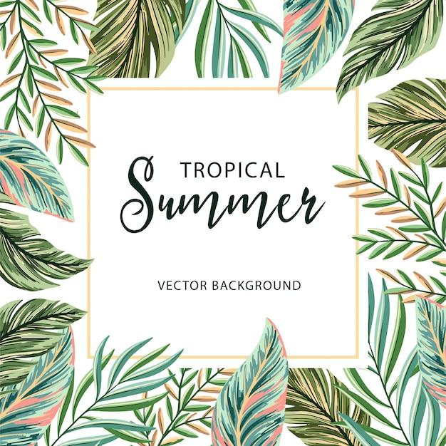Hojas de palma con marco tropical de verano.
