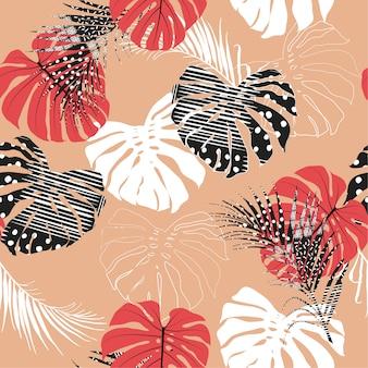 Hojas de palma tropical sin patrón