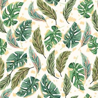 Hojas de palmera brillante tropical de patrones sin fisuras