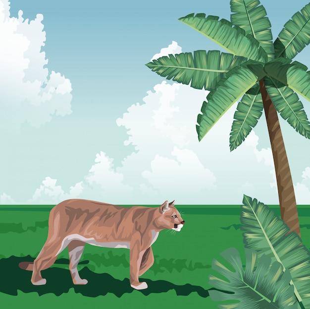 Hojas de palmera caminando felinas fauna tropical y paisaje de flora