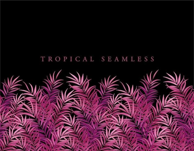 Hojas de palmera rosa tropical, selva hojas de fondo de patrón floral vector transparente