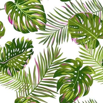 Hojas de palmera tropical de patrones sin fisuras