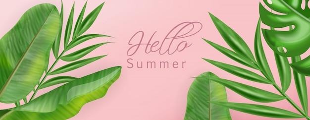 Hojas de palmeras tropicales con bandera de verano hola.