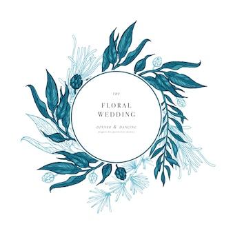 Hojas de palmeras tropicales. invitación de boda redonda de selva. plantilla de diseño. ilustración vectorial grabado hojas de la selva.