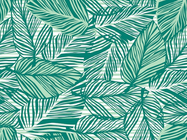Hojas de palmeras tropicales de patrones sin fisuras